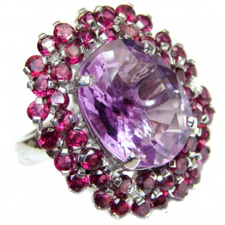 Large Genuine Amethyst Garnet .925 Sterling Silver handcrafted Statement Ring size 8