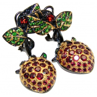 Sweet Strawberry Authentic Garnet Peridot 18K Gold over .925 Sterling Silver handmade earrings