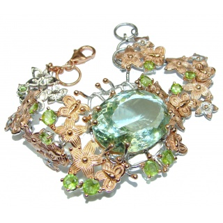 Baroque Style 88ctw Green Amethyst Rose Gold over .925 Sterling Silver handmade Bracelet