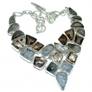 Natural Beauty Black Tourmalinated Quartz .925 Sterling Silver handcratfted necklace