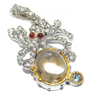 Octopus Design Genuine Citrine 14K Gold .925 Sterling Silver handmade Pendant