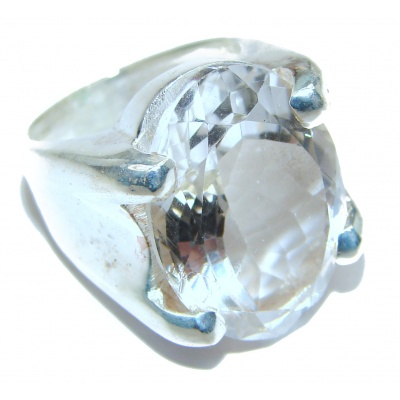 Huge White Cubic Zirconia .925 Sterling Silver handmade Ring s. 7 1/4