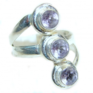Genuine Amethyst .925 Sterling Silver handcrafted Ring size 78