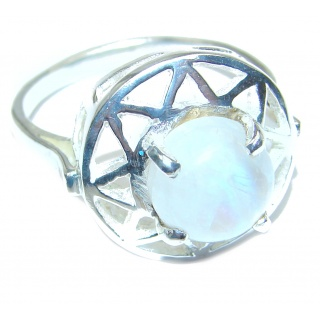 Fire Moonstone .925 Sterling Silver handmade Ring size 11