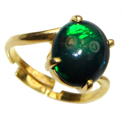 Genuine Black Opal 24K Gold over .925 Sterling Silver handmade Ring size 7 adjustable