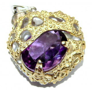 Huge Amethyst 18k Gold over .925 Sterling Silver handcrafted Pendant