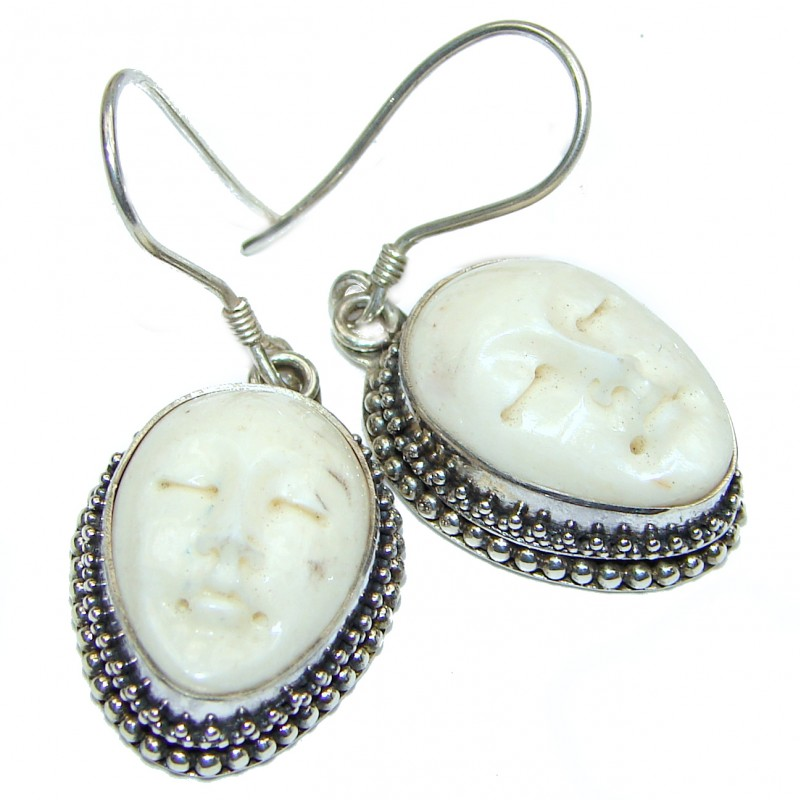 Moonface carved Bone .925 Sterling Silver earrings