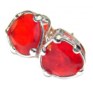 Red Passion Topaz .925 Sterling Silver handcrafted earrings