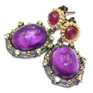 Juicy Amethyst Ruby 18k Gold over .925 Sterling Silver handmade Earrings