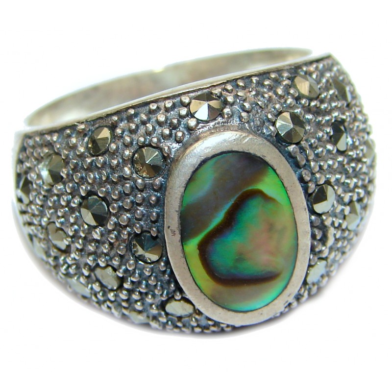 Authentic Rainbow Abalone Sterling Silver handmade Ring s. 9