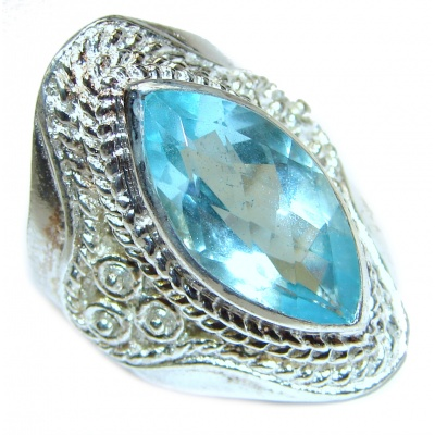 Energizing genuine Swiss Blue Topaz .925 Sterling Silver handmade Ring size 6