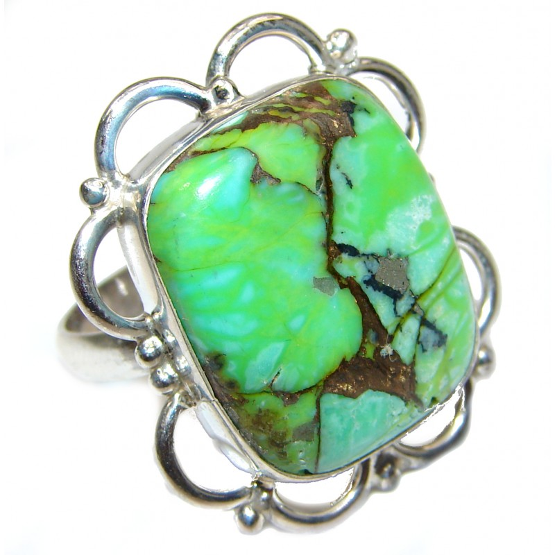 Copper Turquoise .925 Sterling Silver ring; s. 10