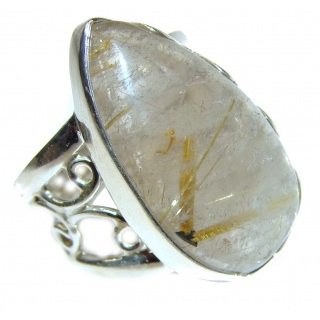 Golden Rutilated Quartz .925 Sterling Silver handcrafted Ring Size 7 1/4