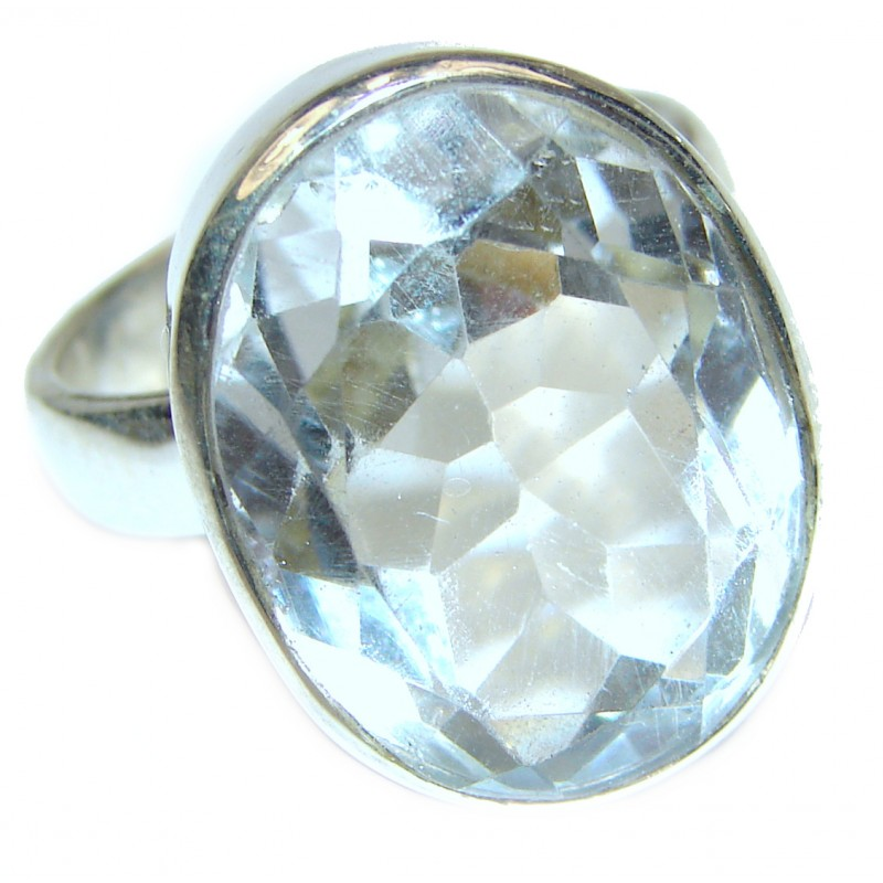 Huge White Cubic Zirconia .925 Sterling Silver handmade Ring s. 9