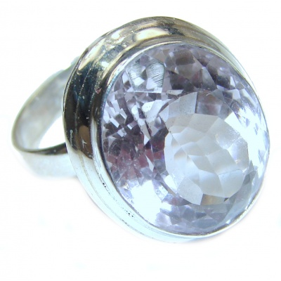 Huge White Cubic Zirconia .925 Sterling Silver handmade Ring s. 7