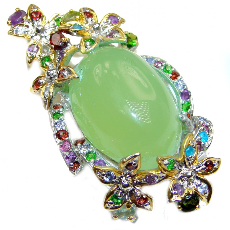 Big Beautiful genuine Prehnite 18K Gold over .925 Sterling Silver handcrafted Pendant- Pin