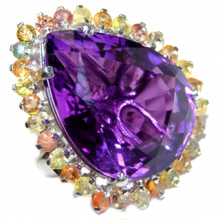 Large Genuine Amethyst Tourmaline .925 Sterling Silver handcrafted Statement Ring size 8