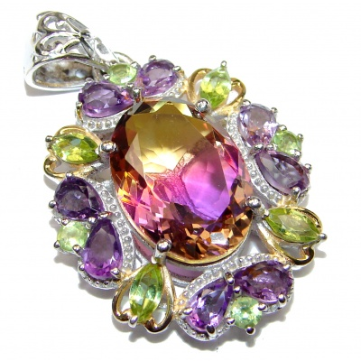 Deluxe oval cut Bi-color Ametrine color Topaz 18K Gold over .925 Sterling Silver handmade Pendant