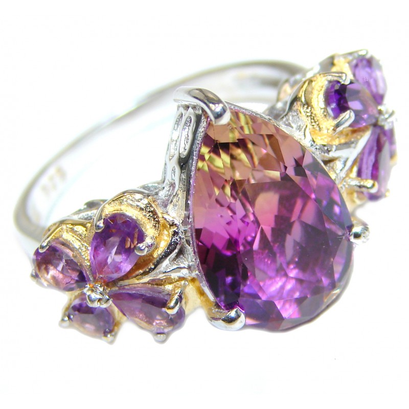 Genuine 25ct Bi- color Ametrine .925 Sterling Silver handcrafted ring; s. 9 1/4