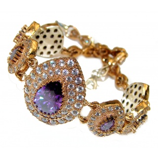 Victorian Style created Amethyst & White Topaz Sterling Silver Bracelet /
