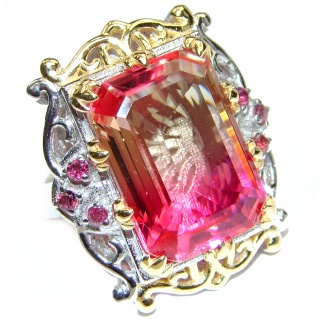 Huge Top Quality Volcanic Pink Tourmaline color Topaz .925 Sterling Silver handcrafted Ring s. 7