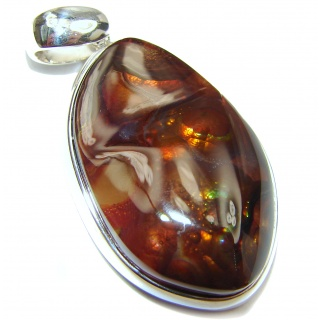 Best Quality Authentic Fire Agate .925 Sterling Silver handmade Pendant