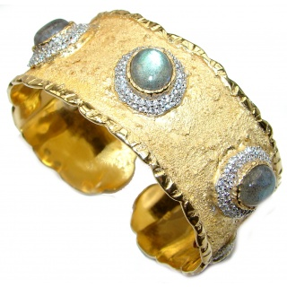 Enchanted Beauty Labradorite 24K Gold over .925 Sterling Silver Italy made Bracelet / Cuff