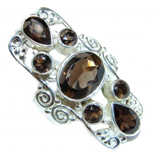 Authentic Smoky Topaz .925 Sterling Silver handcrafted ring; s. 7