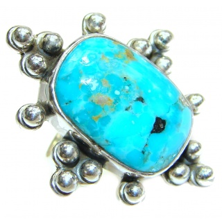Blue Copper Turquoise .925 Sterling Silver ring; s. 5 3/4