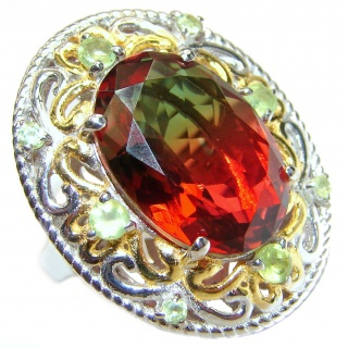 HUGE Watermelon Tourmaline color Topaz 18K Gold over .925 Sterling Silver handcrafted Ring s. 7 1/4