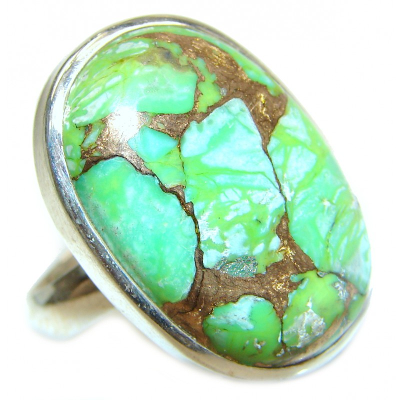 Copper Turquoise .925 Sterling Silver ring; s. 6