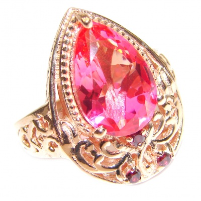 Top Quality Magic Volcanic Pink Topaz 18K Gold over .925 Sterling Silver handcrafted Ring s. 8 1/4