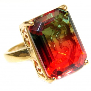 HUGE Top Quality Magic Volcanic Tourmaline 18K Gold over .925 Sterling Silver handcrafted Ring s. 7 1/4