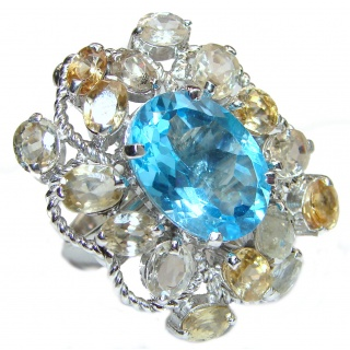 Huge Authentic Swiss Blue Topaz Citrine .925 Sterling Silver handmade Statement Ring size 8