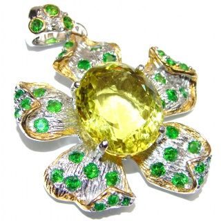 Huge Royal quality genuine Citrine Chrome Diopside .925 Sterling Silver handcrafted Pendant