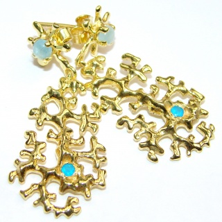 Delicate Golden Reefs Aquamarine 18K Gold over .925 Sterling Silver earrings