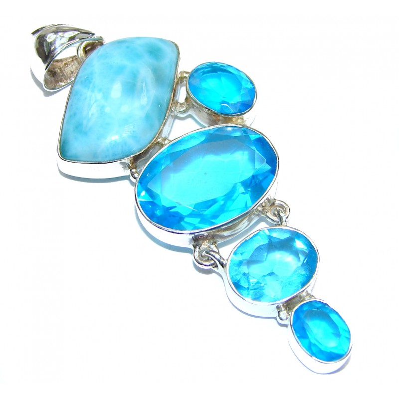 Truly Divine Creation Authentic Caribbean Larimar .925 Sterling Silver handmade pendant