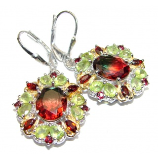 Stunning Watermelon Tourmaline color Topaz 18K Gold over .925 Sterling Silver entirely handmade earrings