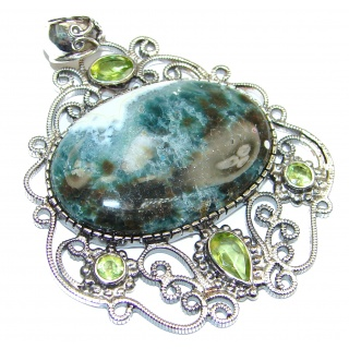 Incredible Ocean Jasper Peridot .925 Sterling Silver handmade pendant