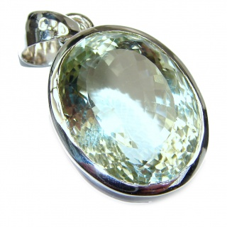 Green Amethyst .925 Sterling Silver handcrafted pendant