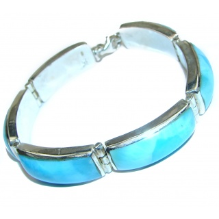 Masterpiece Genuine inlay Blue Larimar .925 Sterling Silver handcrafted Bracelet