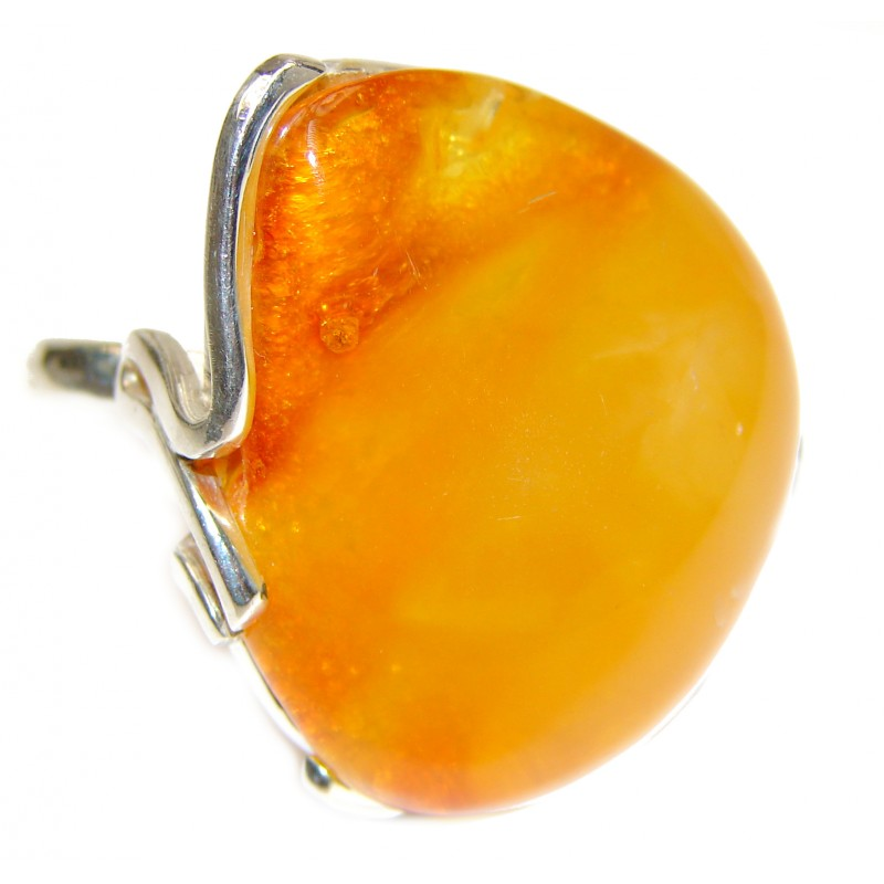 Large Genuine Butterscotch Baltic Amber .925 Sterling Silver handmade Ring size 8