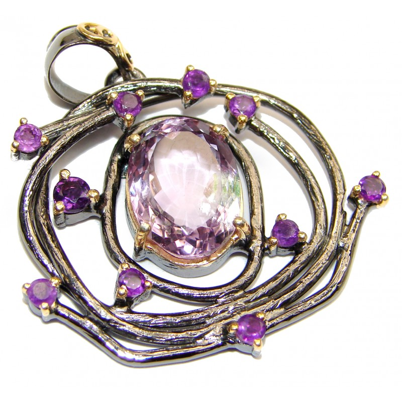 Royal Treaure Genuine 29ct Amethyst 14K Gold .925 Sterling Silver handmade Pendant