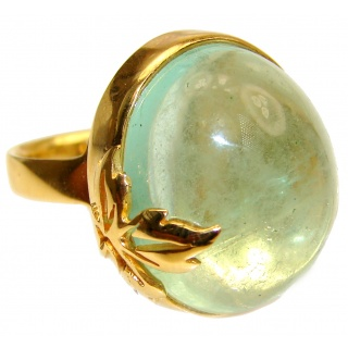 LARGE Natural Apatite 18K Gold over .925 Sterling Silver handmade ring s. 7 adjustable