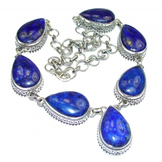 Huge Genuine Lapis Lazuli .925 Sterling Silver handmade Necklace