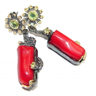 Genuine Fossilized Coral 18K Gold Rhodium over .925 Sterling Silver earrings