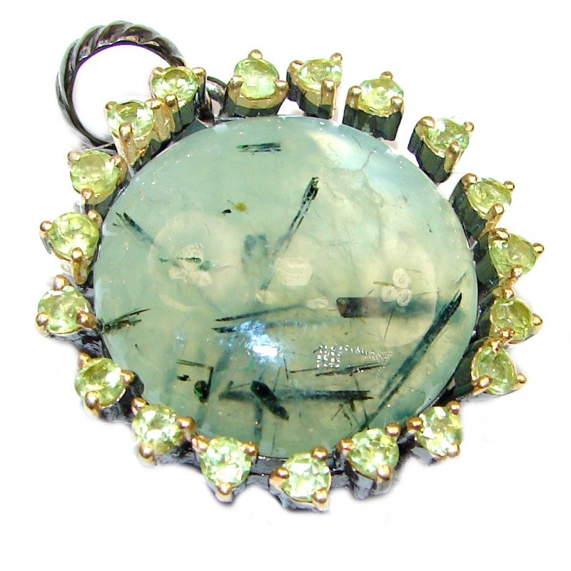 Pure Perfection Natural Moss Prehnite .925 Sterling Silver handmade Pendant