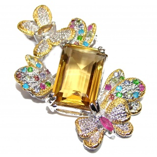 Incredible Butterflies 52.2CT Genuine Lemon Quartz .925 Sterling Silver handcrafted pendant - pin