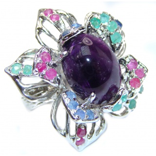 Large Genuine Amethyst Ruby Emerald .925 Sterling Silver handcrafted Statement Ring size 8 1/4