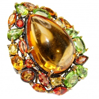 Large Genuine Golden Topaz Peridot .925 Sterling Silver handcrafted Statement Ring size 7 3/4